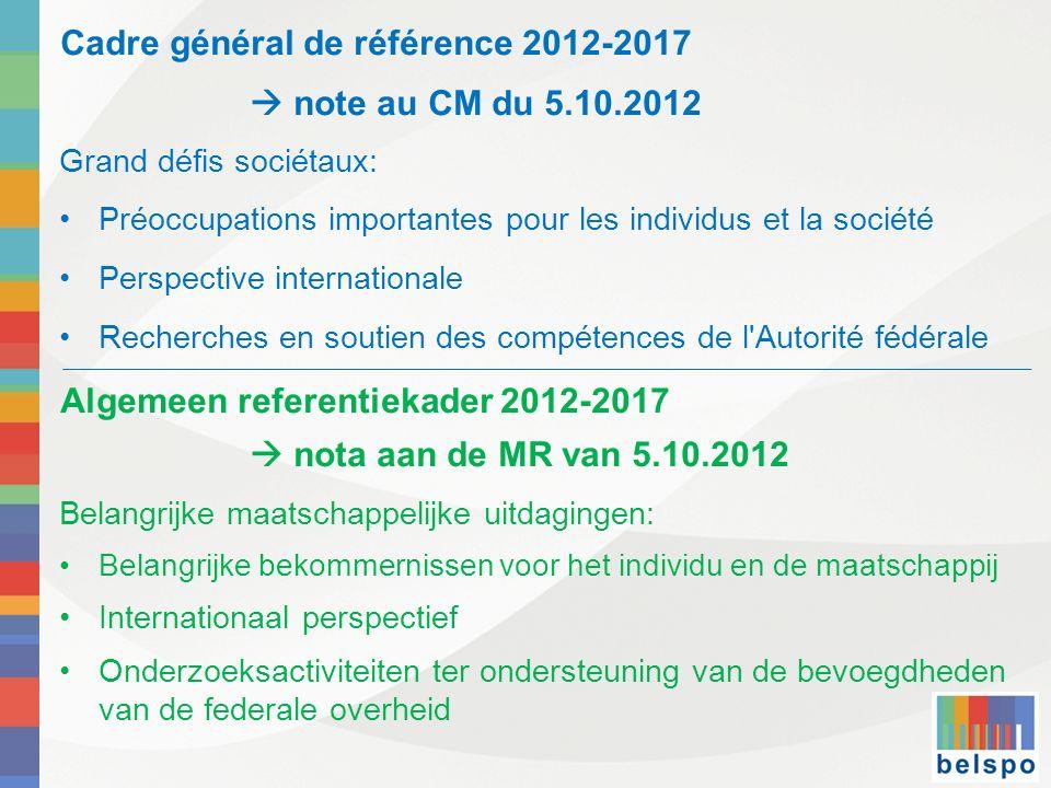 Cadre général de référence 2012-2017 note au CM du 5.10.2012 Grand défis sociétaux: Préoccupations importantes pour les individus et la société Perspe