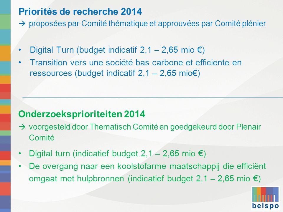 Priorités de recherche 2014 proposées par Comité thématique et approuvées par Comité plénier Digital Turn (budget indicatif 2,1 – 2,65 mio ) Transitio