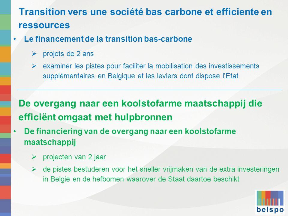 Transition vers une société bas carbone et efficiente en ressources Le financement de la transition bas-carbone projets de 2 ans examiner les pistes p