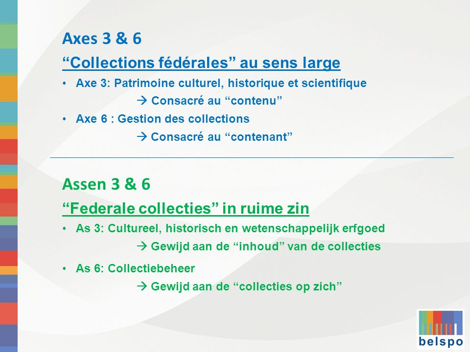 Axes 3 & 6 Collections fédérales au sens large Axe 3: Patrimoine culturel, historique et scientifique Consacré au contenu Axe 6 : Gestion des collecti