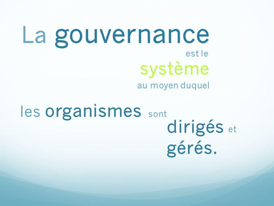 les attentes les pouvoirs La gouvernance signifie le rendement prescriptions de la loi.