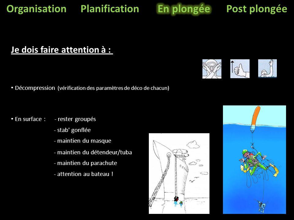 OrganisationPlanificationPost plongée Décompression (vérification des paramètres de déco de chacun) En surface : - rester groupés - stab gonflée - maintien du masque - maintien du détendeur/tuba - maintien du parachute - attention au bateau .