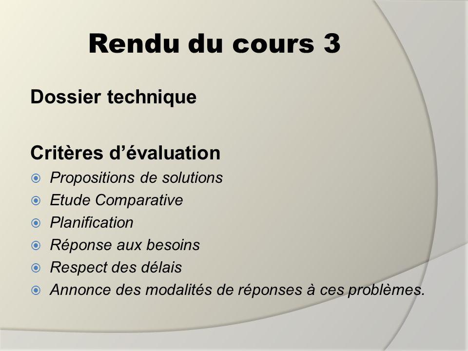 Rendu du cours 3 Dossier technique Critères dévaluation Propositions de solutions Etude Comparative Planification Réponse aux besoins Respect des déla