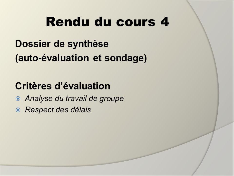 Rendu du cours 4 Dossier de synthèse (auto-évaluation et sondage) Critères dévaluation Analyse du travail de groupe Respect des délais