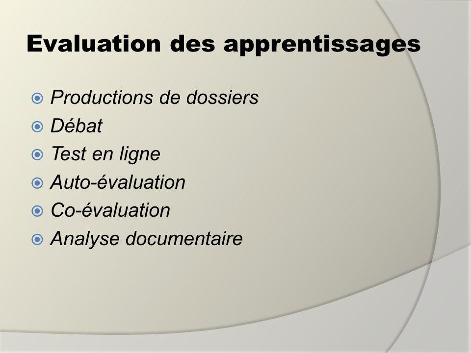 Evaluation des apprentissages Productions de dossiers Débat Test en ligne Auto-évaluation Co-évaluation Analyse documentaire