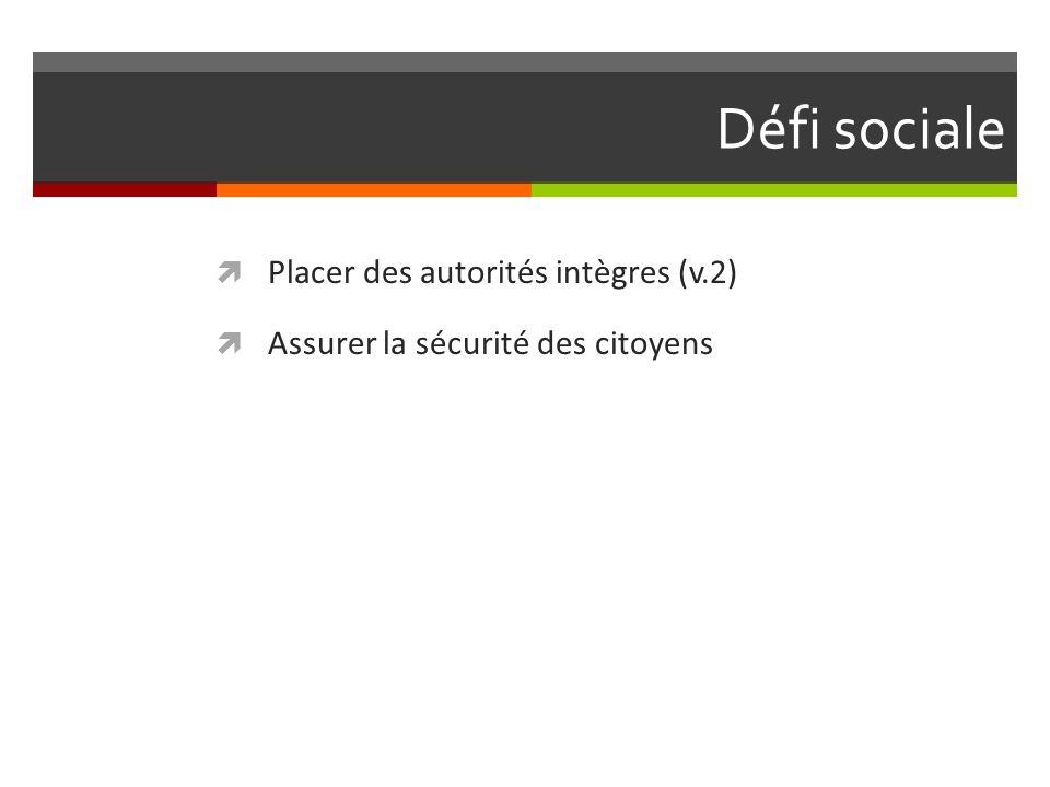 Défi sociale Placer des autorités intègres (v.2) Assurer la sécurité des citoyens