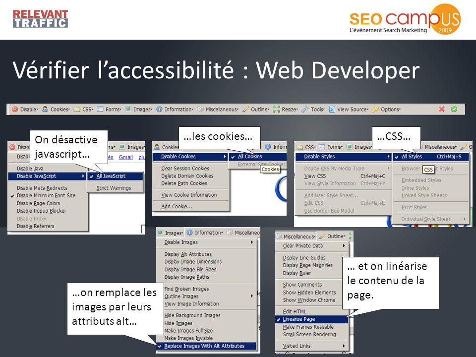 Vérifier laccessibilité : Web Developer On désactive javascript… …les cookies……CSS… …on remplace les images par leurs attributs alt… … et on linéarise le contenu de la page.