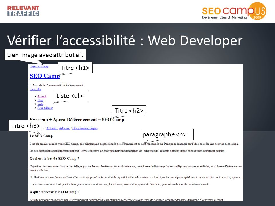 Vérifier laccessibilité : Web Developer Lien image avec attribut alt Titre Liste Titre paragraphe