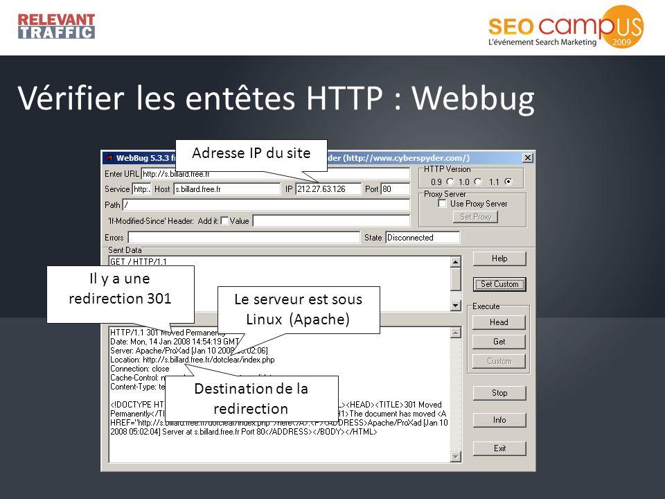 Vérifier les entêtes HTTP : Webbug Adresse IP du site Il y a une redirection 301 Le serveur est sous Linux (Apache) Destination de la redirection