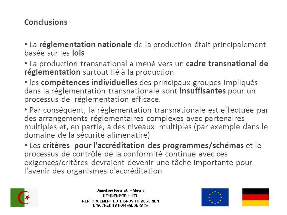 Conclusions La réglementation nationale de la production était principalement basée sur les lois La production transnational a mené vers un cadre transnational de réglementation surtout lié à la production les compétences individuelles des principaux groupes impliqués dans la réglementation transnationale sont insuffisantes pour un processus de réglementation efficace.
