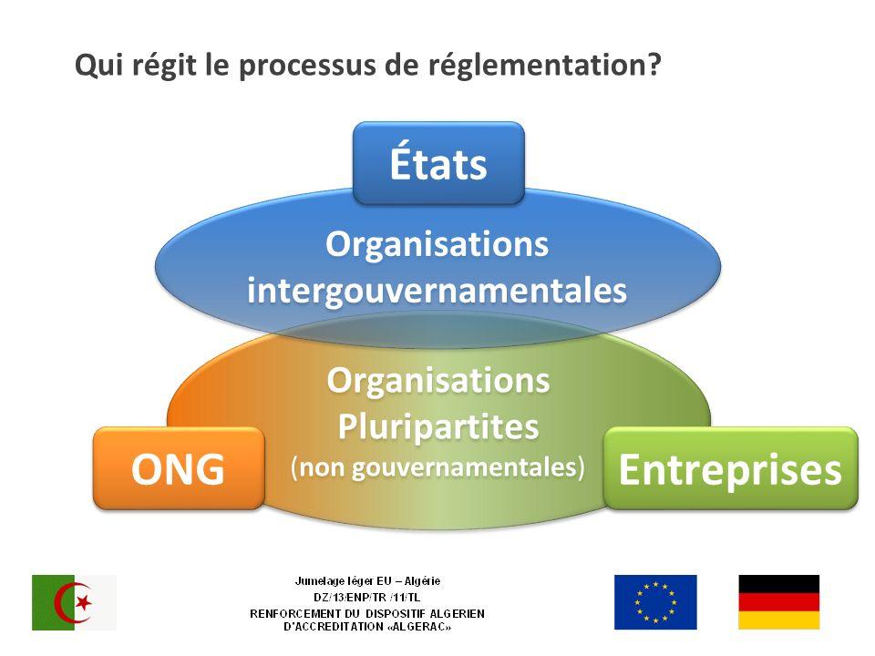 Qui régit le processus de réglementation? Organisations Pluripartites (non gouvernamentales) Entreprises ONG Organisations intergouvernamentales États