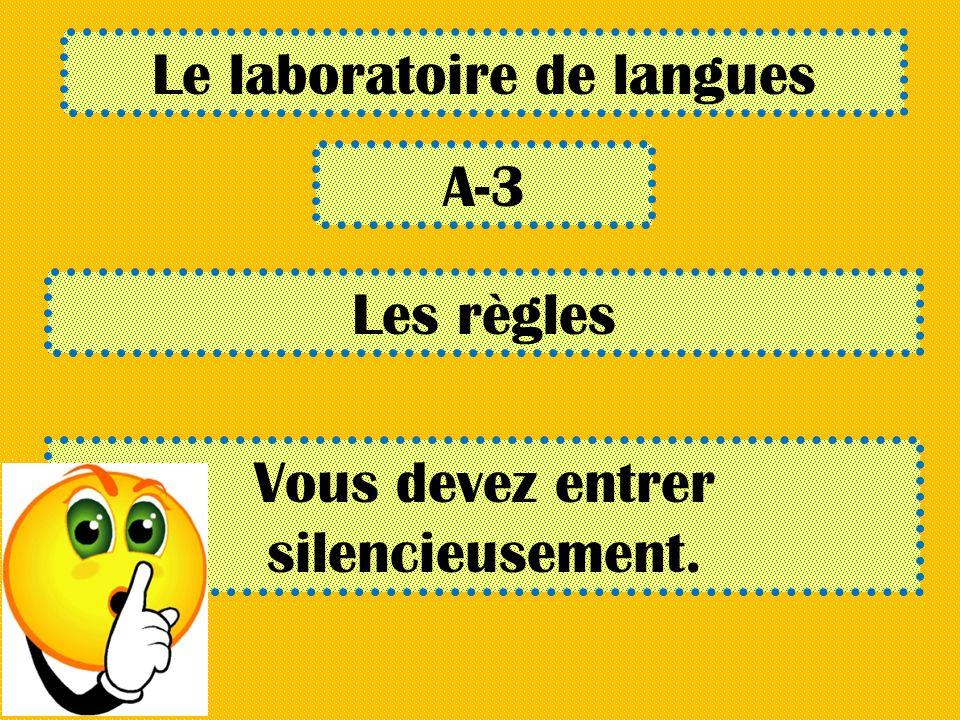 Le laboratoire de langues A-3 Les règles Vous devez entrer silencieusement.