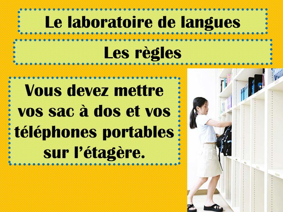 Le laboratoire de langues Les règles Vous devez mettre vos sac à dos et vos téléphones portables sur létagère.