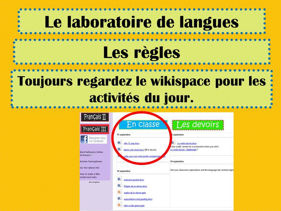 Le laboratoire de langues Les règles Toujours regardez le wikispace pour les activités du jour.