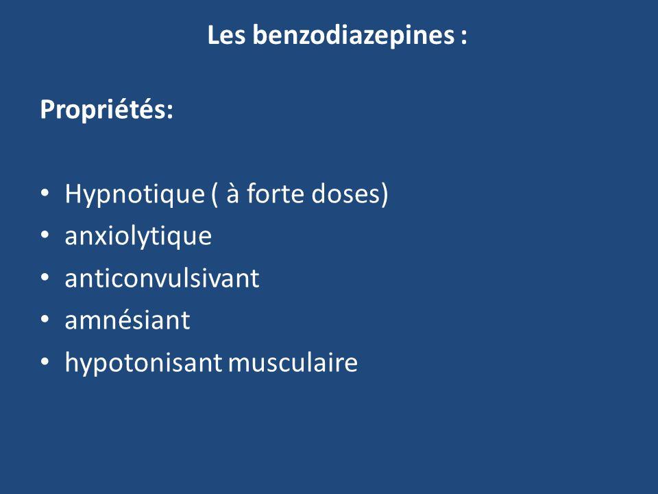 Les benzodiazepines : Propriétés: Hypnotique ( à forte doses) anxiolytique anticonvulsivant amnésiant hypotonisant musculaire