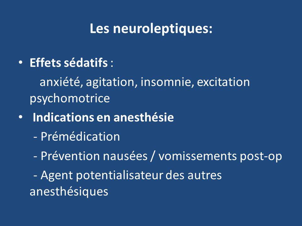Les neuroleptiques: Effets sédatifs : anxiété, agitation, insomnie, excitation psychomotrice Indications en anesthésie - Prémédication - Prévention nausées / vomissements post-op - Agent potentialisateur des autres anesthésiques