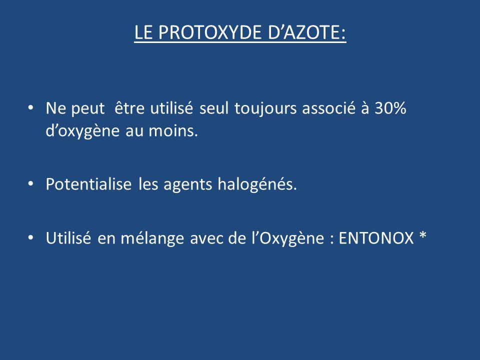 LE PROTOXYDE DAZOTE: Ne peut être utilisé seul toujours associé à 30% doxygène au moins.