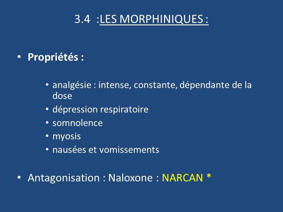 3.4 :LES MORPHINIQUES : Propriétés : analgésie : intense, constante, dépendante de la dose dépression respiratoire somnolence myosis nausées et vomissements Antagonisation : Naloxone : NARCAN *