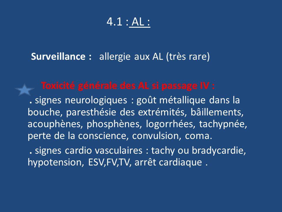 4.1 : AL : Surveillance : allergie aux AL (très rare) Toxicité générale des AL si passage IV :.