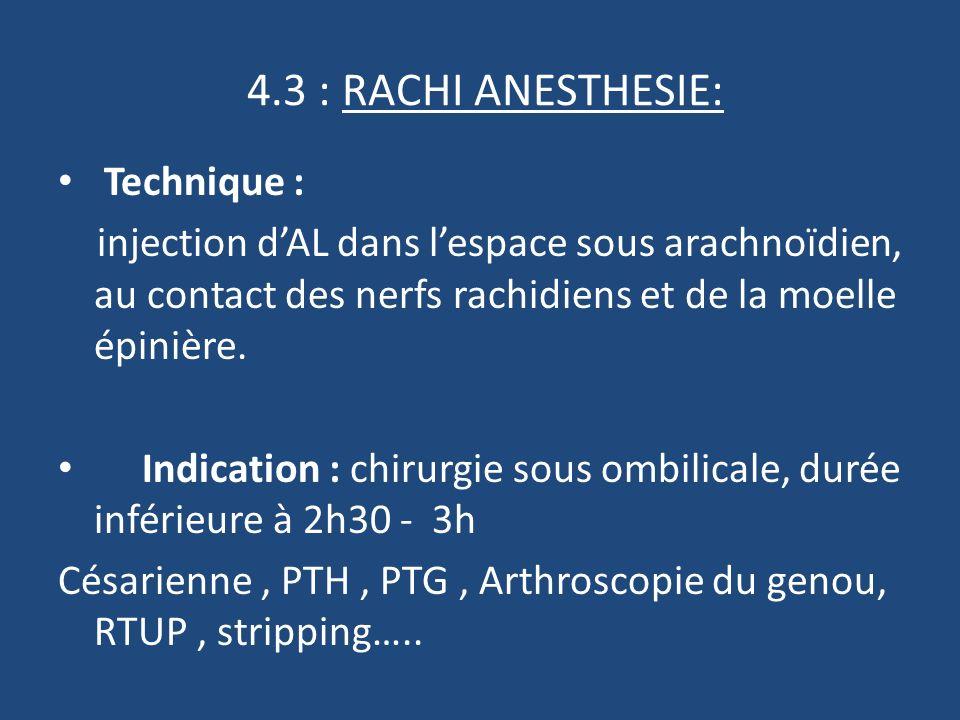 4.3 : RACHI ANESTHESIE: Technique : injection dAL dans lespace sous arachnoïdien, au contact des nerfs rachidiens et de la moelle épinière.
