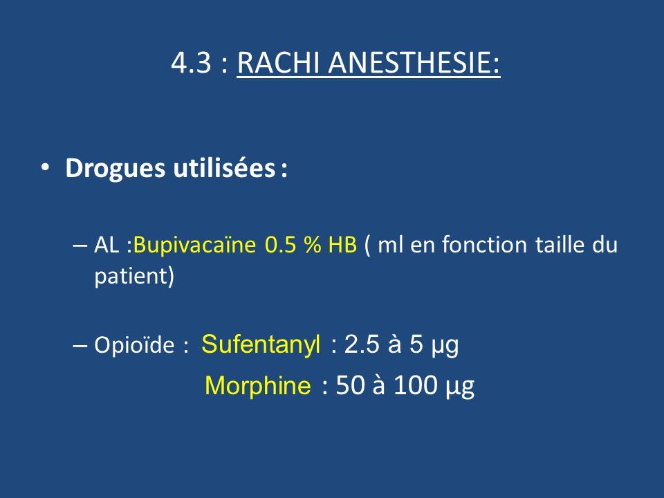 4.3 : RACHI ANESTHESIE: Drogues utilisées : – AL :Bupivacaïne 0.5 % HB ( ml en fonction taille du patient) – Opioïde : Sufentanyl : 2.5 à 5 µg Morphine : 50 à 100 µg
