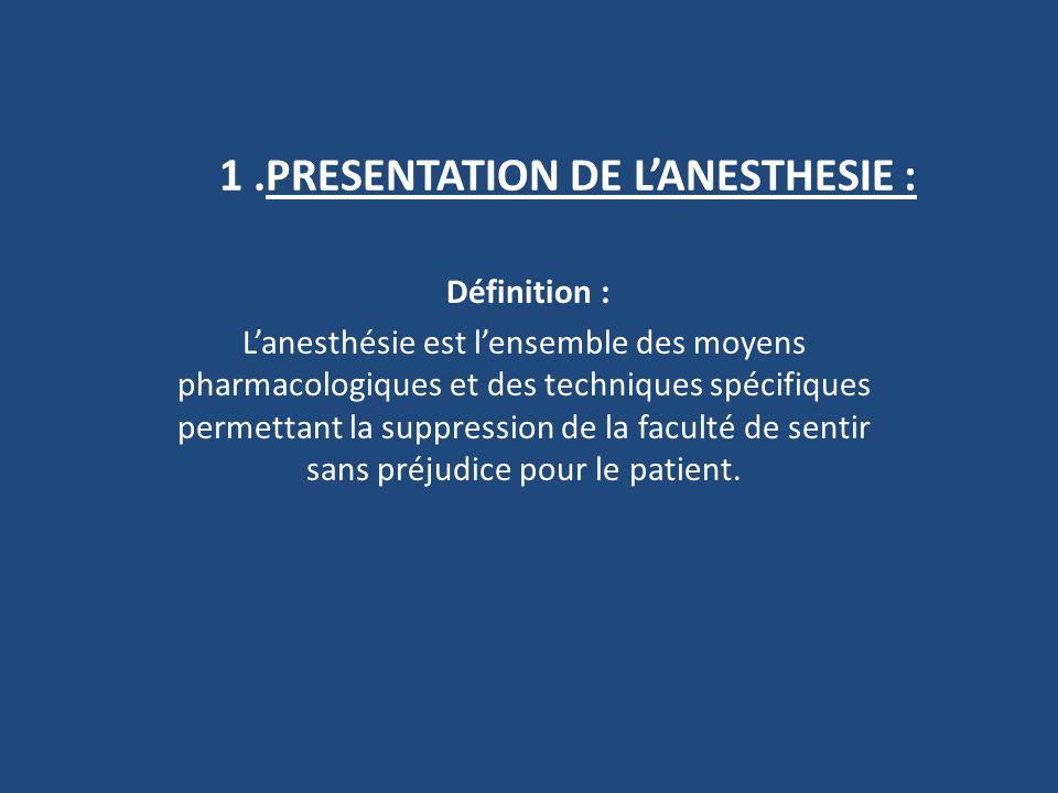 1.PRESENTATION DE LANESTHESIE : Définition : Lanesthésie est lensemble des moyens pharmacologiques et des techniques spécifiques permettant la suppression de la faculté de sentir sans préjudice pour le patient.