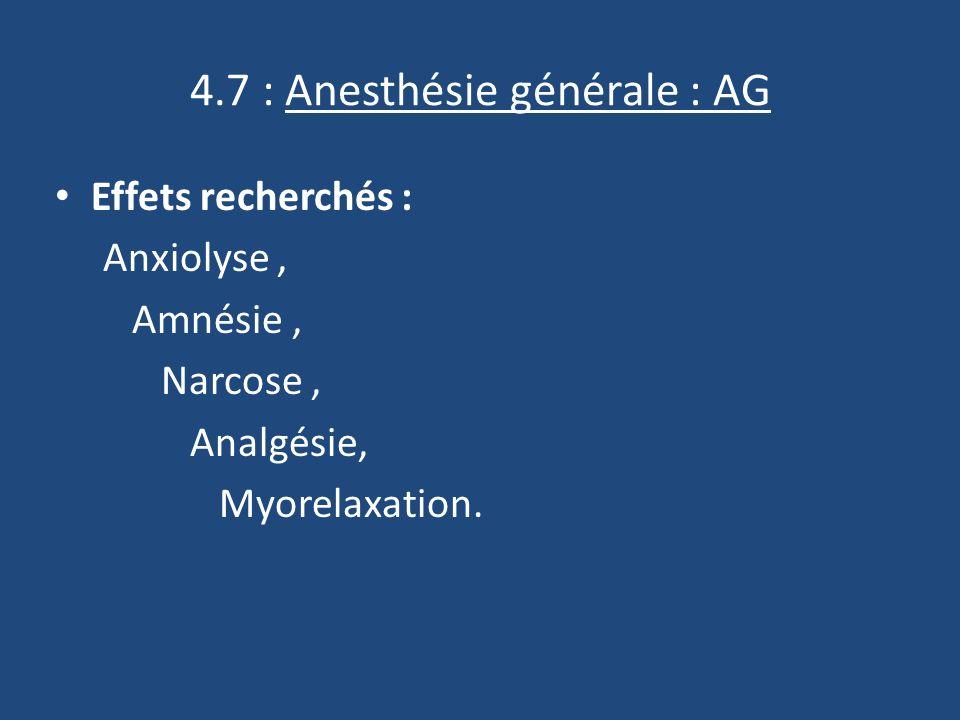 4.7 : Anesthésie générale : AG Effets recherchés : Anxiolyse, Amnésie, Narcose, Analgésie, Myorelaxation.