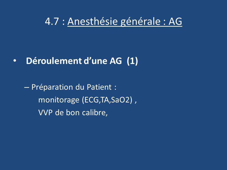 4.7 : Anesthésie générale : AG Déroulement dune AG (1) – Préparation du Patient : monitorage (ECG,TA,SaO2), VVP de bon calibre,