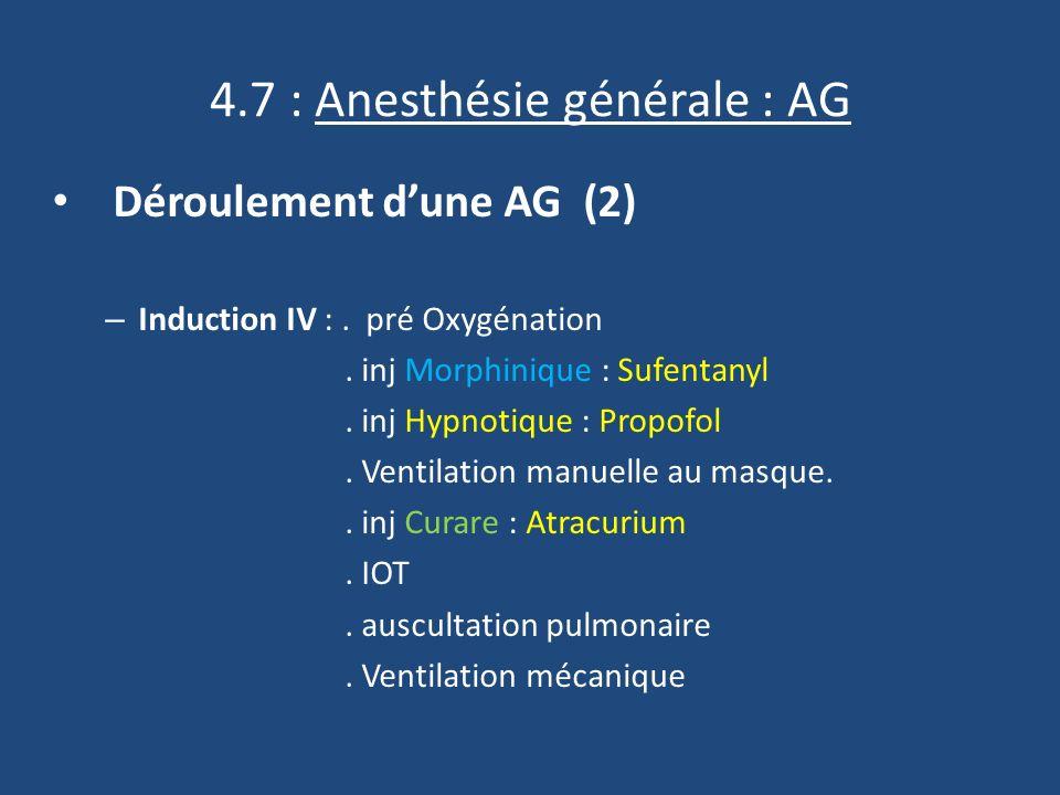 4.7 : Anesthésie générale : AG Déroulement dune AG (2) – Induction IV :.