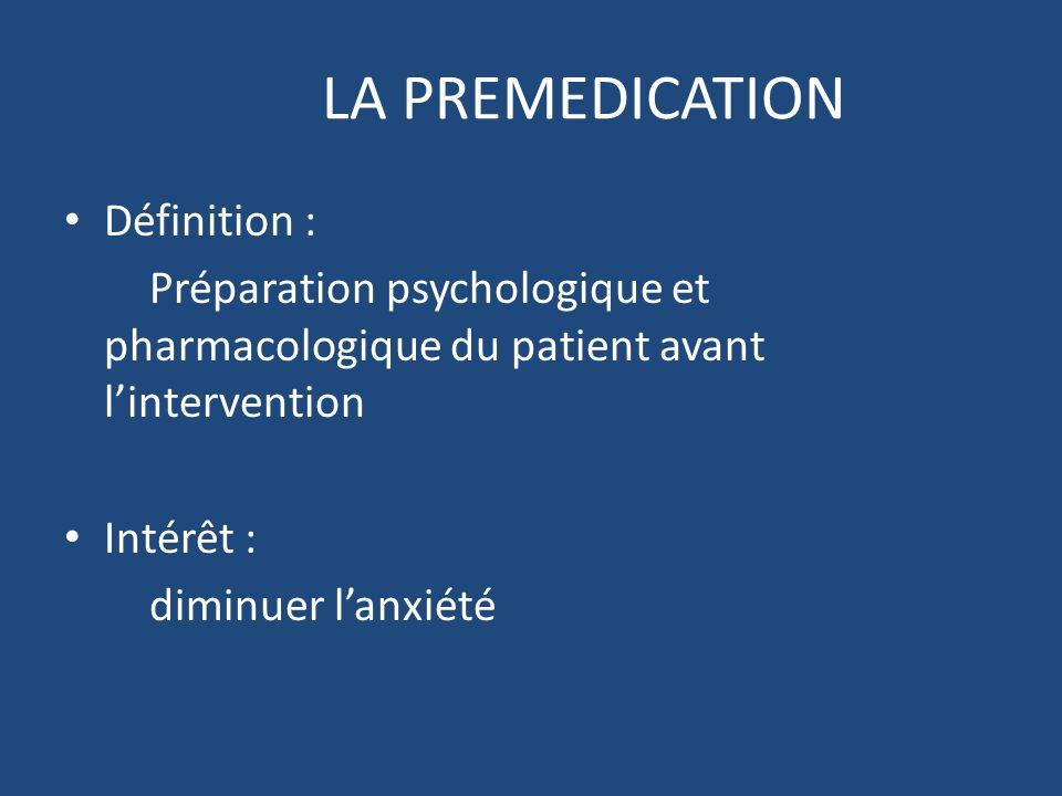 LA PREMEDICATION Définition : Préparation psychologique et pharmacologique du patient avant lintervention Intérêt : diminuer lanxiété