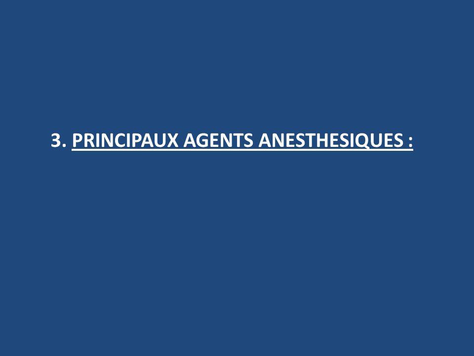 3. PRINCIPAUX AGENTS ANESTHESIQUES :