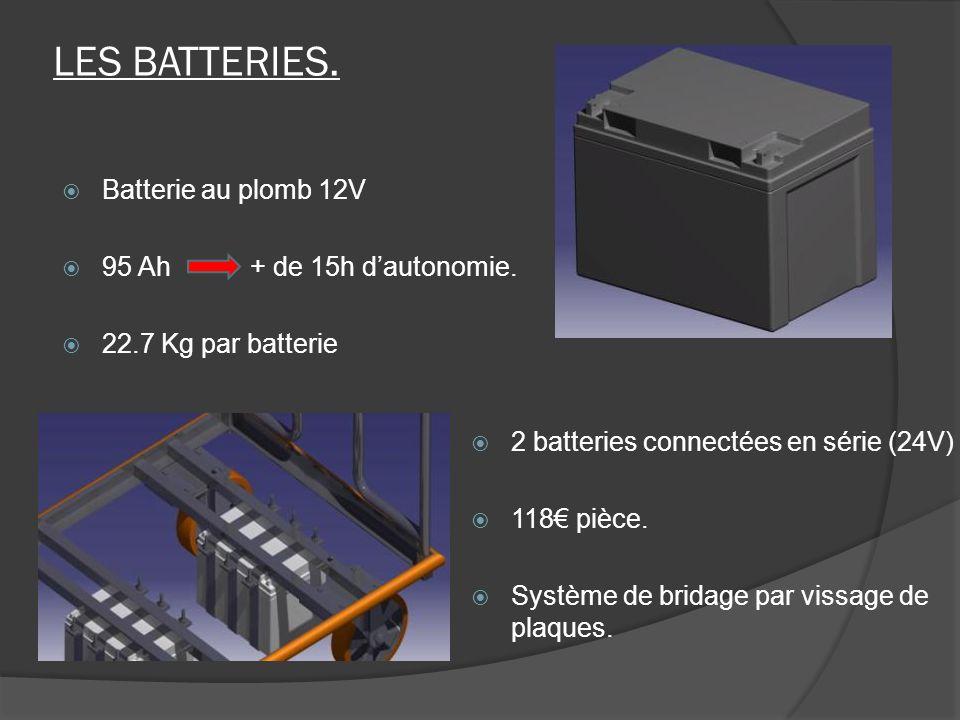 Batterie au plomb 12V 95 Ah + de 15h dautonomie. 22.7 Kg par batterie LES BATTERIES. 2 batteries connectées en série (24V) 118 pièce. Système de brida