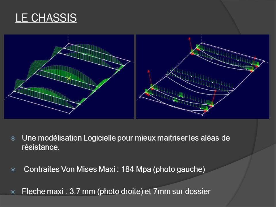 LE CHASSIS Une modélisation Logicielle pour mieux maitriser les aléas de résistance. Contraites Von Mises Maxi : 184 Mpa (photo gauche) Fleche maxi :