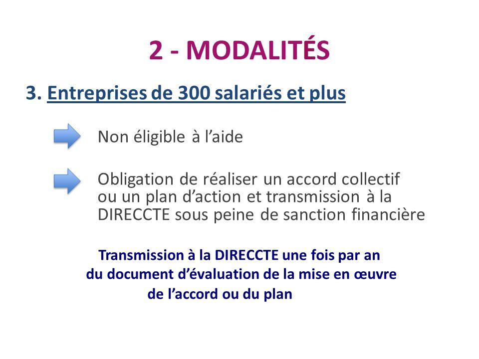 2 - MODALITÉS 3. Entreprises de 300 salariés et plus Non éligible à laide Obligation de réaliser un accord collectif ou un plan daction et transmissio