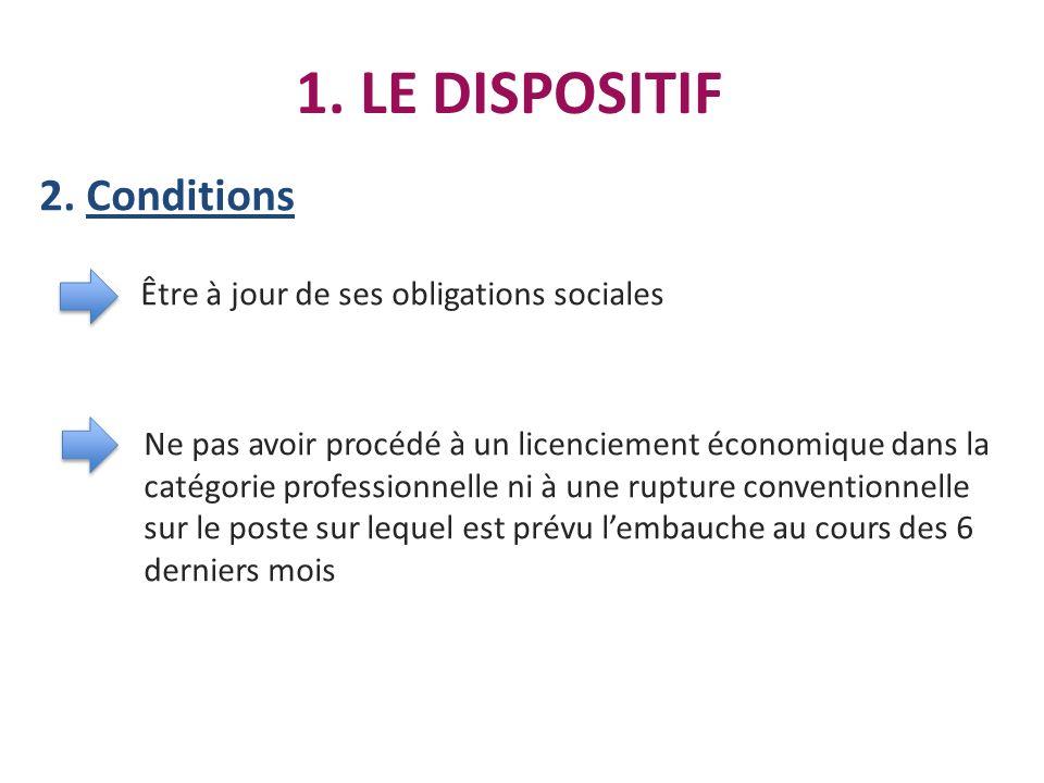 1. LE DISPOSITIF 2. Conditions Être à jour de ses obligations sociales Ne pas avoir procédé à un licenciement économique dans la catégorie professionn