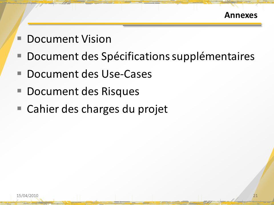 Annexes Document Vision Document des Spécifications supplémentaires Document des Use-Cases Document des Risques Cahier des charges du projet 15/04/201021