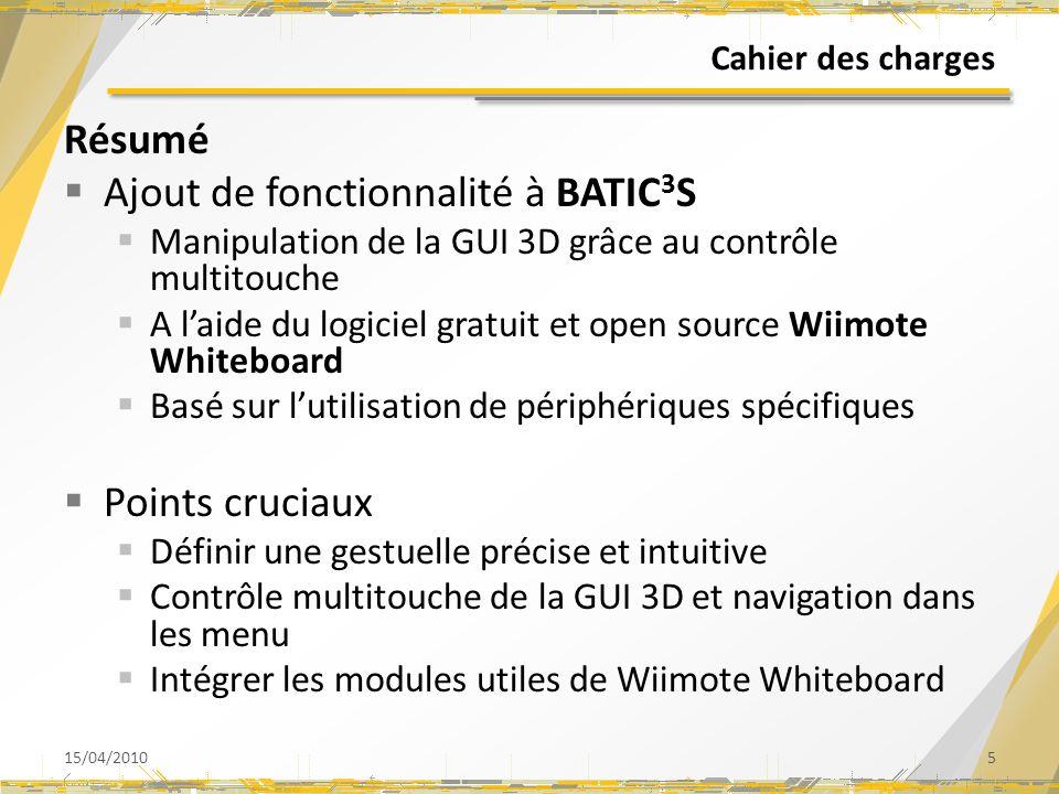 Cahier des charges Résumé Ajout de fonctionnalité à BATIC 3 S Manipulation de la GUI 3D grâce au contrôle multitouche A laide du logiciel gratuit et open source Wiimote Whiteboard Basé sur lutilisation de périphériques spécifiques Points cruciaux Définir une gestuelle précise et intuitive Contrôle multitouche de la GUI 3D et navigation dans les menu Intégrer les modules utiles de Wiimote Whiteboard 15/04/20105