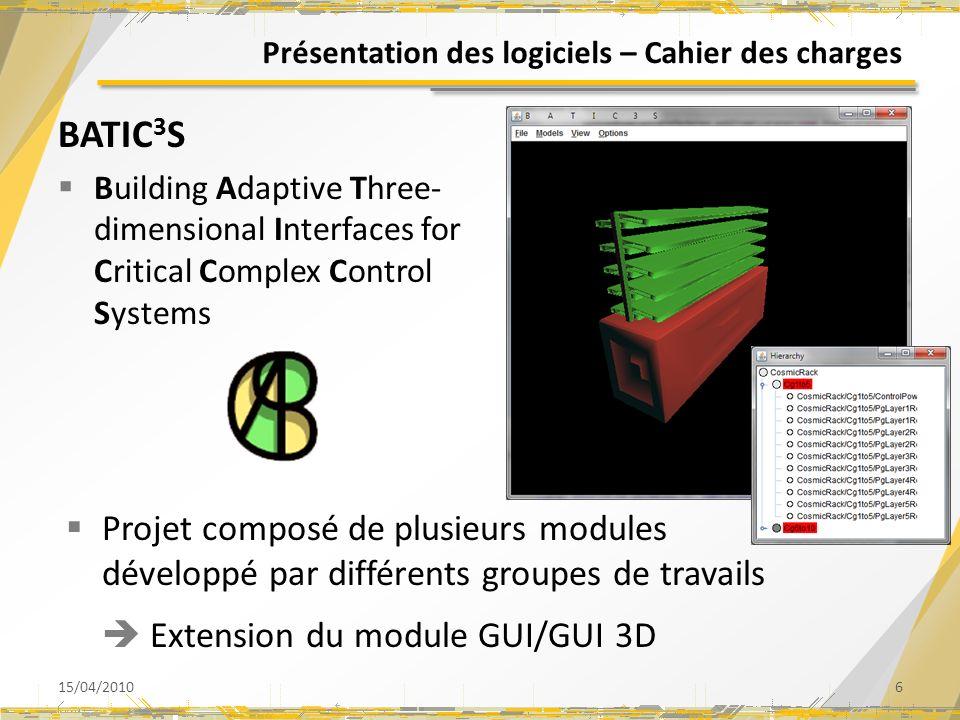 Présentation des logiciels – Cahier des charges BATIC 3 S Building Adaptive Three- dimensional Interfaces for Critical Complex Control Systems 15/04/20106 Projet composé de plusieurs modules développé par différents groupes de travails Extension du module GUI/GUI 3D
