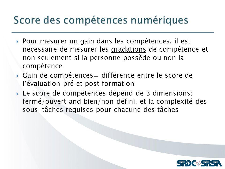 Pour mesurer un gain dans les compétences, il est nécessaire de mesurer les gradations de compétence et non seulement si la personne possède ou non la