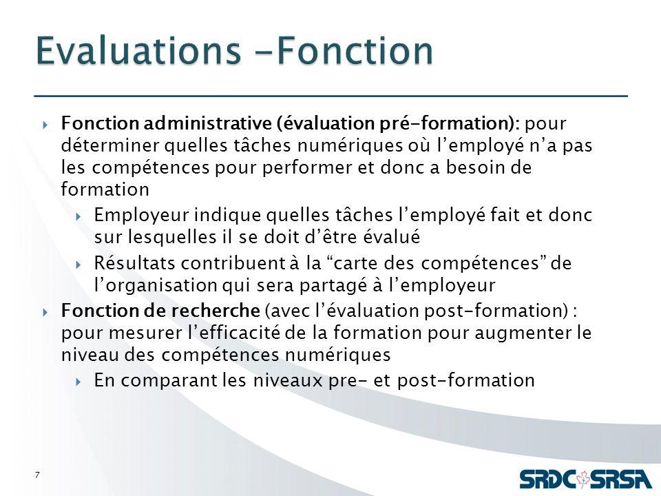 Fonction administrative (évaluation pré-formation): pour déterminer quelles tâches numériques où lemployé na pas les compétences pour performer et don