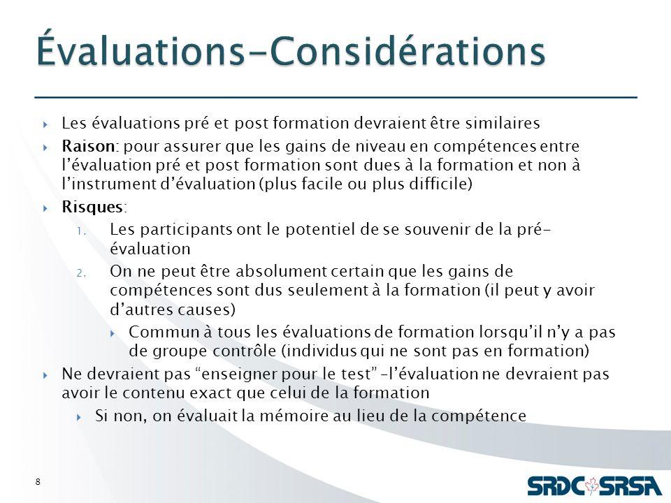 Les évaluations pré et post formation devraient être similaires Raison: pour assurer que les gains de niveau en compétences entre lévaluation pré et post formation sont dues à la formation et non à linstrument dévaluation (plus facile ou plus difficile) Risques: 1.