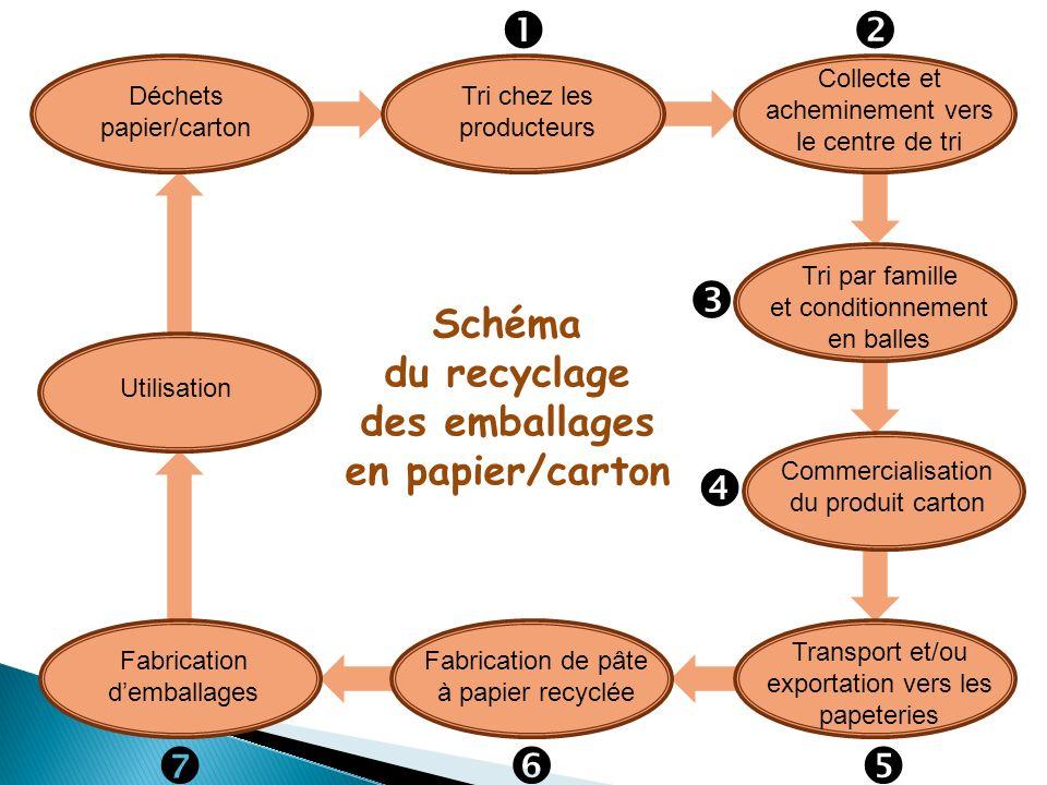 Les bénéfices environnementaux du recyclage des emballages papier/carton 1)Générer des économies : 1 t dEMR recyclé ( Emballages Ménagers Récupérés) 1 t dELA recyclé (E mballages pour Liquides Alimentaires) Economie de bois1,41 t de bois1,98 t de bois Economie deau48,20 m 3 deau (consommation moyenne domestique = 55m 3 /an/hab.) 9,07 m 3 deau Economie dénergie électrique 10,25 MWh dénergie (consommation moyenne au domicile = 10,3 MWh/an/hab.) 4,02 MWh dénergie 2) Limiter limpact sur leffet de serre : 1 tonne de papier-carton recyclé permet de diminuer les rejets de 0,04 t éq CO 2.