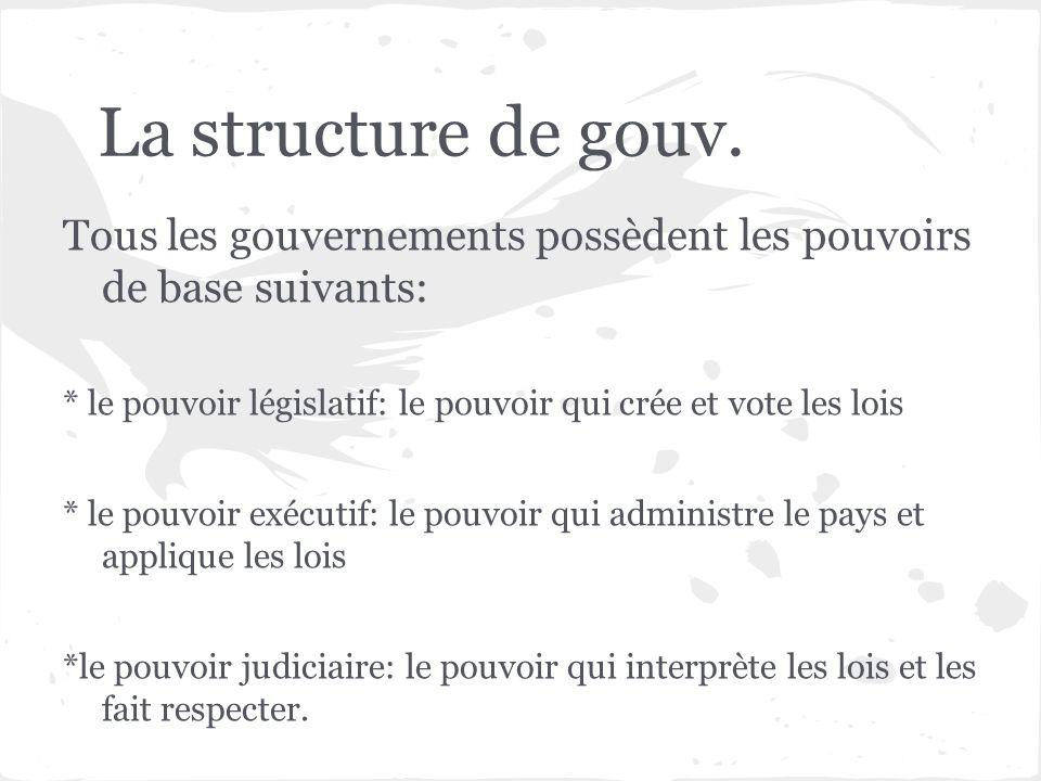 La structure de gouv. Tous les gouvernements possèdent les pouvoirs de base suivants: * le pouvoir législatif: le pouvoir qui crée et vote les lois *