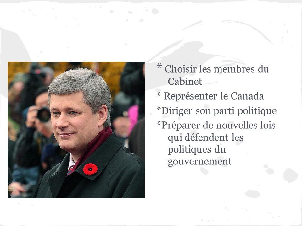 * Choisir les membres du Cabinet * Représenter le Canada *Diriger son parti politique *Préparer de nouvelles lois qui défendent les politiques du gouv