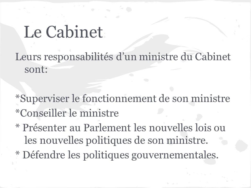 Leurs responsabilités dun ministre du Cabinet sont: *Superviser le fonctionnement de son ministre *Conseiller le ministre * Présenter au Parlement les
