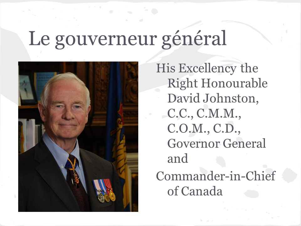 Le gouverneur général His Excellency the Right Honourable David Johnston, C.C., C.M.M., C.O.M., C.D., Governor General and Commander-in-Chief of Canada