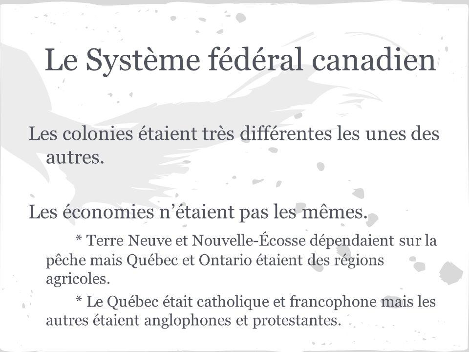 Le Système fédéral canadien Les colonies étaient très différentes les unes des autres. Les économies nétaient pas les mêmes. * Terre Neuve et Nouvelle