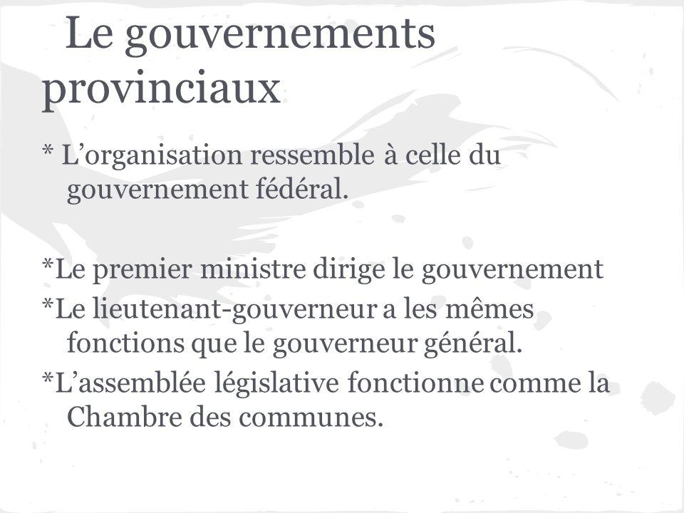 Le gouvernements provinciaux * Lorganisation ressemble à celle du gouvernement fédéral. *Le premier ministre dirige le gouvernement *Le lieutenant-gou