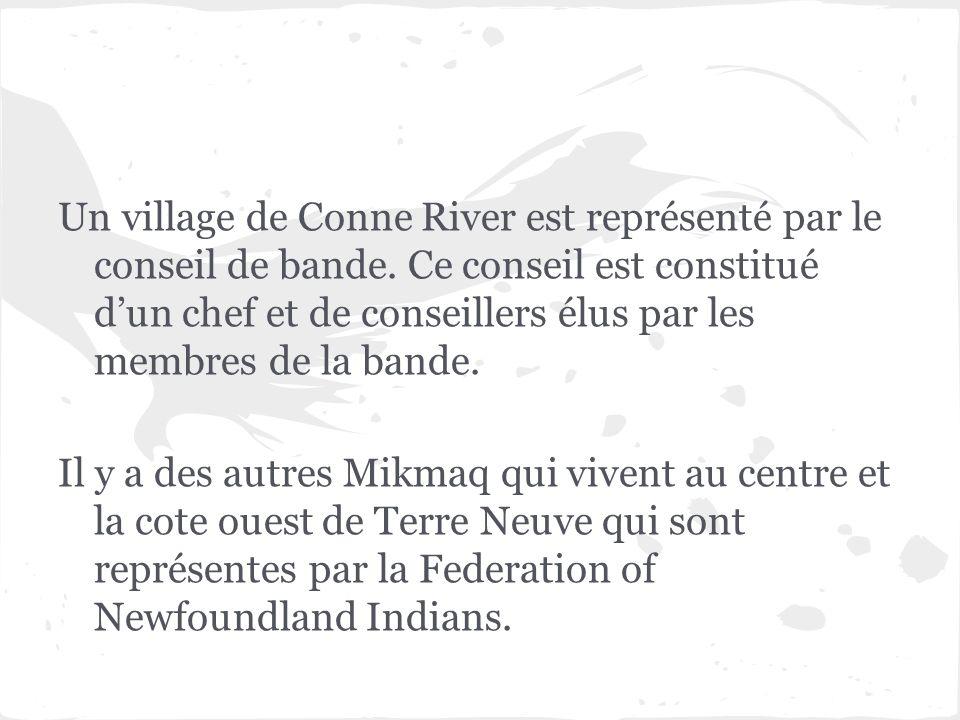 Un village de Conne River est représenté par le conseil de bande. Ce conseil est constitué dun chef et de conseillers élus par les membres de la bande