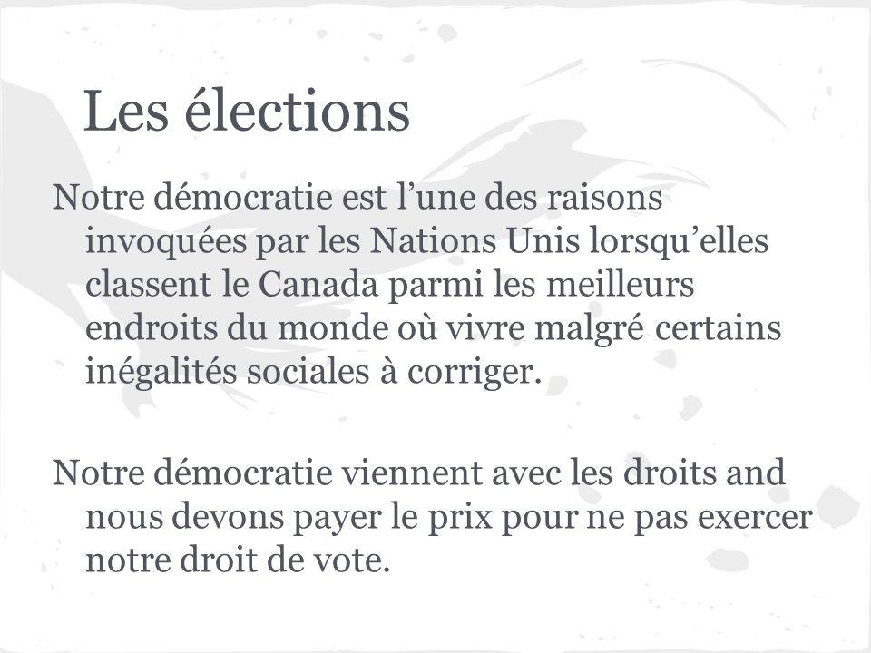 Les élections Notre démocratie est lune des raisons invoquées par les Nations Unis lorsquelles classent le Canada parmi les meilleurs endroits du mond